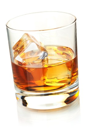 whisky: Whiskey with ice cubes. Isolated on white