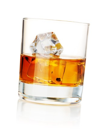 bourbon: Water with ice cubes. Isolated on white