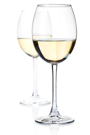 white wine: Two white wine glasses. Isolated on white, small DOF