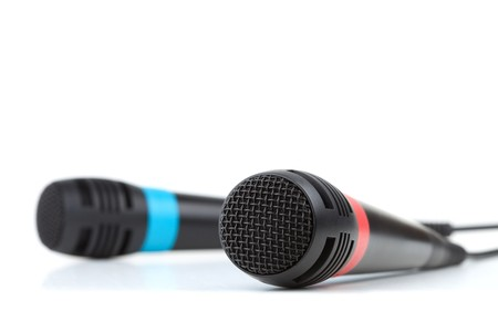 Two cable microphones. Isolated on white background, small DOF Stock Photo - 7875919