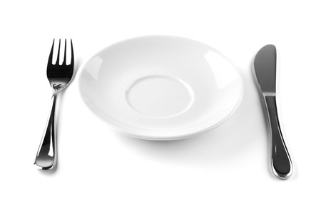 Fork, knife and empty white plate. Isolated on white background Stock Photo - 7875920