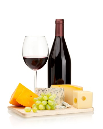 Red wine, cheese and grapes. Isolated on white photo
