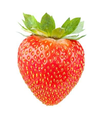 Åšwieże truskawki. Samodzielnie na biaÅ'ym tle Zdjęcie Seryjne