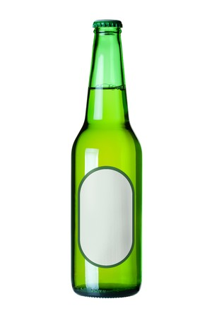 Lager beer in green bottle with blank label. Isolated on white background photo