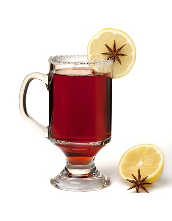 mulled: Hot mulled wine with lemon slice and anise. Isolated on white