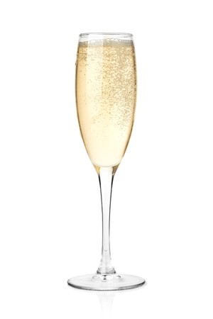 flutes: Champagne in a glass. Isolated on white background Stock Photo
