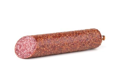 Italian salami sausage. Isolated on white background Stock Photo - 8169614