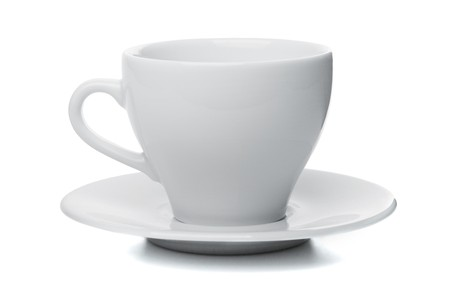Empty coffee cup with saucer. Isolated on white background photo