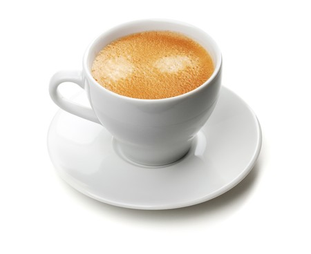 kroes: Cappuccino-kop. Geïsoleerd op witte achtergrond