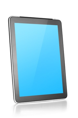 Touch screen tablet computer with blue background. Isolated on white Stock Photo - 8169624