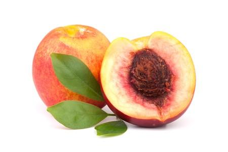 Fresh peaches isolated on white background photo
