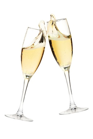 champagne flute: Cheers! Two champagne glasses. Isolated on white Stock Photo