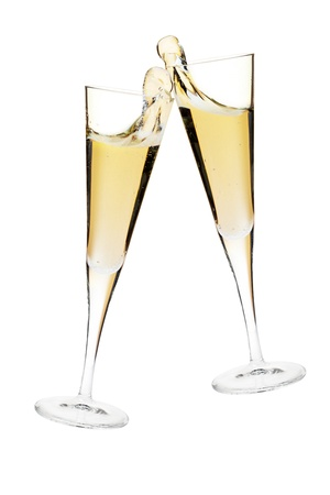 gold flute: Cheers! Two champagne glasses. Isolated on white Stock Photo