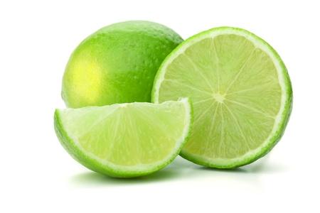 Fresh ripe lime. Isolated on white background photo