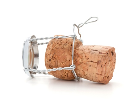Champagne cork. Isolated on white background photo