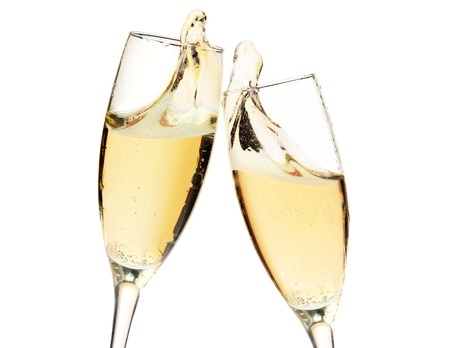 gold flute: Cheers! Two champagne glasses. Closeup, isolated on white