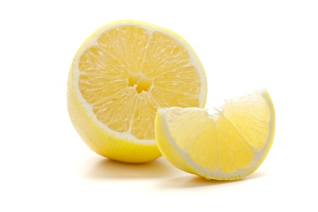 Ripe fresh lemon. Isolated on white background photo