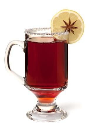 mulled wine: Hot mulled wine with lemon slice. Isolated on white Stock Photo