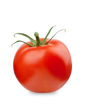 Fresh red tomato. Isolated on white background photo