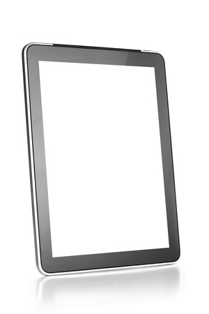 Touch screen tablet computer with blank screen Isolated on white photo