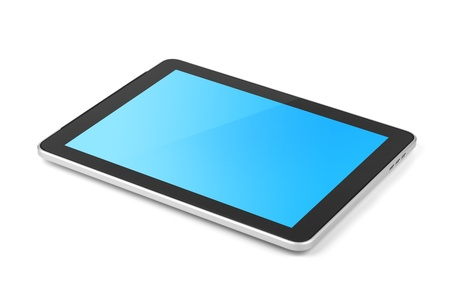 Touch screen tablet computer with blue gradient background. Isolated on white Stock Photo