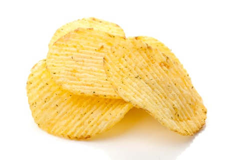 Potato chips isolated on white background Stock Photo - 8472848