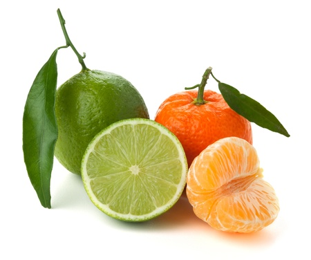 Limes and tangerines. Isolated on white background photo