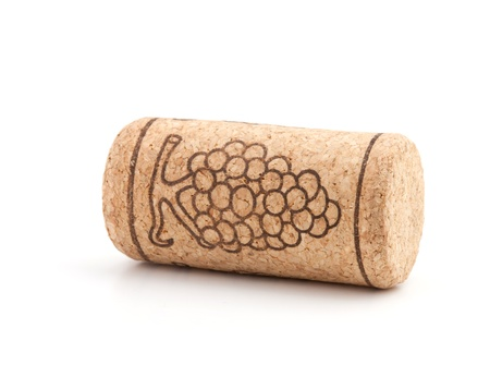 Wine cork with grape illustration. Isolated on white background