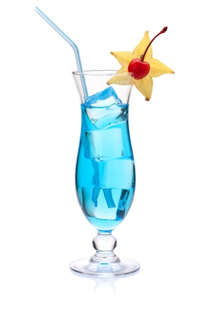 maraschino: Blue tropical cocktail with carambola and maraschino. Isolated on white