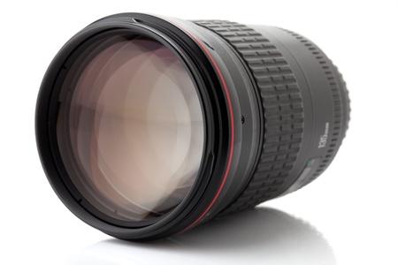 Professional photo lens. Isolated on white background photo