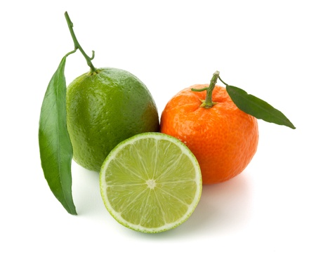 Limes and tangerine. Isolated on white background Stock Photo - 8650722