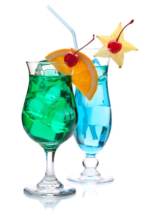 Two tropical cocktails. Isolated on white background photo