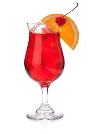 Red tropical cocktail. Isolated on white background photo