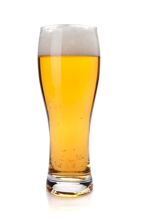 beerglass: Lager beer glass. Isolated on white background