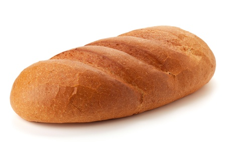 bread loaf: Lunga pagnotta di pane. Isolated on white Archivio Fotografico
