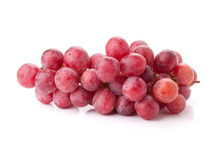 wine grape: Fresh red grapes branch. Isolated on white
