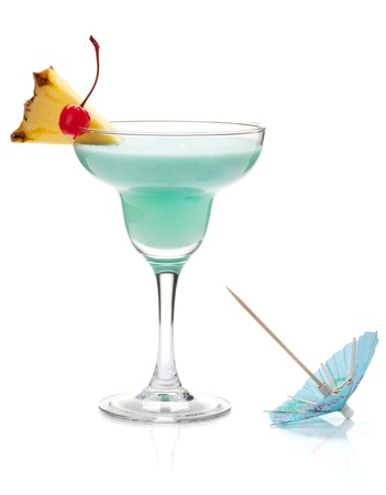 Blue tropical cocktail with pineapple and cherry. Isolated on white Stock Photo - 8801793