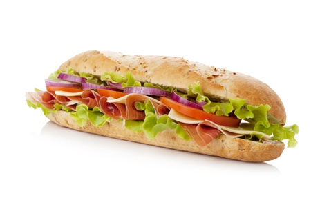 Long sandwich with ham, cheese, tomatoes, red onion and lettuce. Isolated on white Stock Photo - 8801801