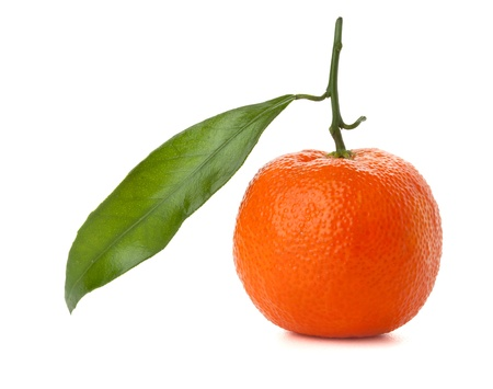 A ripe tangerine with green leaf. Isolated on white Stock Photo - 8936342