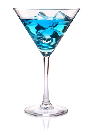 Blue tropical cocktail in martini glass. Isolated on white