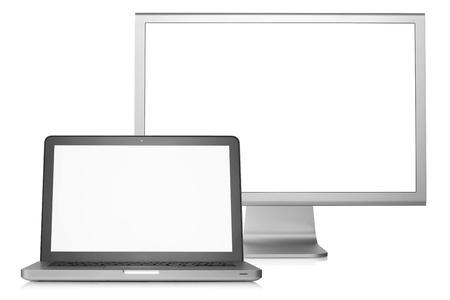 Laptop with external display. Blank white screen. Isolated on white background photo