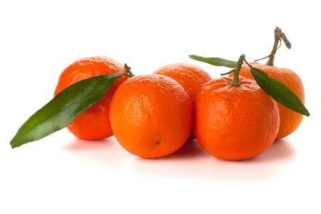 Five ripe tangerines with leafs. Isolated on white Stock Photo - 8936367