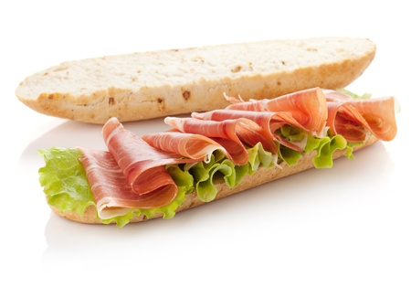 Long sandwich preparation. Isolated on white. Another angle available photo