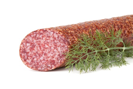Italian salami sausage with dill. Isolated on white background Stock Photo - 9045168