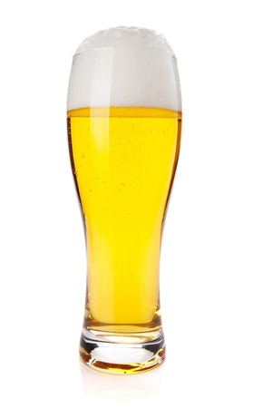 Lager beer glass. Isolated on white background photo