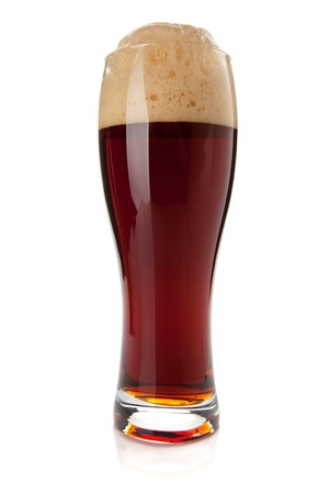 Dark beer glass. Isolated on white background Stock Photo - 9045160