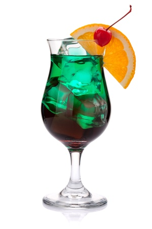 Dark green tropical cocktail. Isolated on white background Stock Photo - 9045186