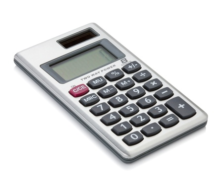 Small digital calculator. Isolated on white backgound photo