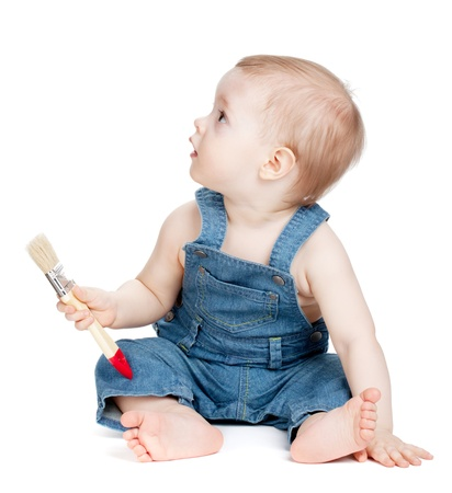 cute guy: Small baby worker with paint brush. Isolated on white