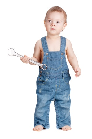 Small baby worker with spanner wrench. Isolated on white Stock Photo - 9103935